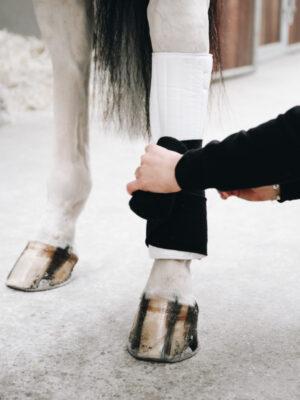 Kentucky Horsewear Bandagierunterlagen Absorb Schwarz Weiß Bein
